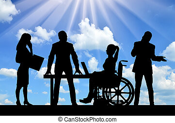 Disabled worker. Silhouette of a disabled woman in a wheelchair and her work team