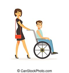 Disabled young man in wheelchair, smiling female friend or volunteer helping him, healthcare assistance and accessibility colorful vector Illustration