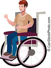 Disabled young man in wheelchair.