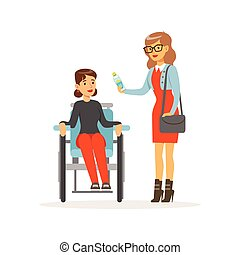 Disabled young woman in wheelchair, smiling female friend or volunteer helping her, healthcare assistance and accessibility colorful vector Illustration