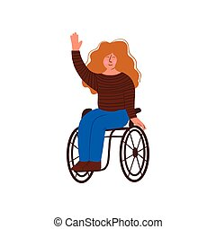 Disabled Young Woman in Wheelchair Smiling and Holding Up...