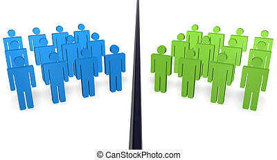 Disagree People - Two teams of 3d people with different...