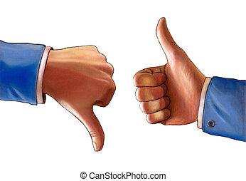 Thumb up and thumb down. Original hand painted illustration.