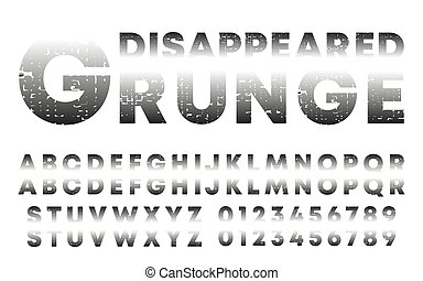 Disappeared design alphabet template. Letters and numbers with grunge texture. Vector illustration