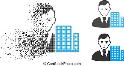 Disappearing Dot Halftone City Architect Icon with Face