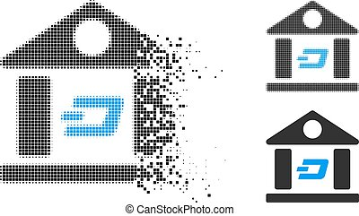 Disappearing Dot Halftone Dash Bank Building Icon - Dash ...