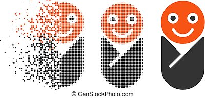 Disappearing Dot Halftone Infant Icon