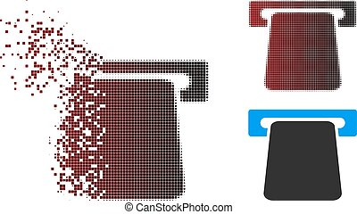 Disappearing Pixel Halftone Bank ATM Icon - Vector bank ATM...