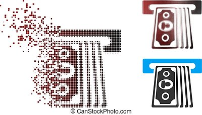 Disappearing Pixel Halftone Cashpoint Terminal Icon - Vector...
