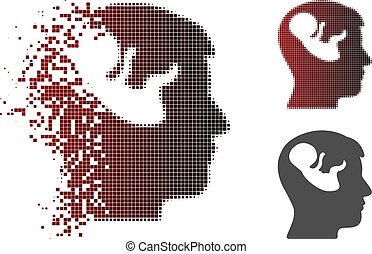 Disappearing Pixel Halftone Embryo Mind Head Icon - Embryo...