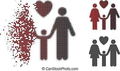 Disappearing Pixel Halftone Family Love Icon