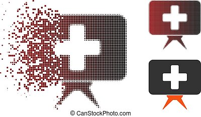 Disappearing Pixel Halftone Health Care Presentation Icon -...