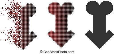 Disappearing Pixel Halftone Male Sexual Disfunction Icon -...