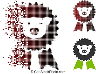 Disappearing Pixel Halftone Pig Award Seal Icon