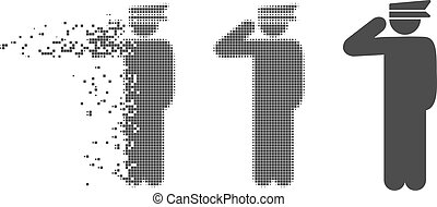 Disappearing Pixel Halftone Police Officer Icon