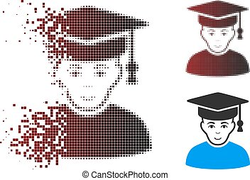 Disappearing Pixel Halftone Professor Icon - Vector...