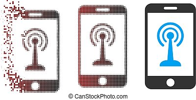Disappearing Pixel Halftone Smartphone Radio Control Icon