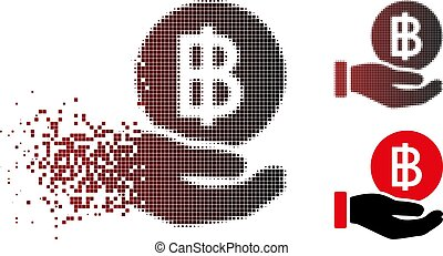 Disappearing Pixel Halftone Thai Baht Coin Payment Icon -...