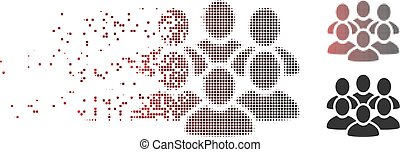 Disappearing Pixel Halftone User Crowd Icon