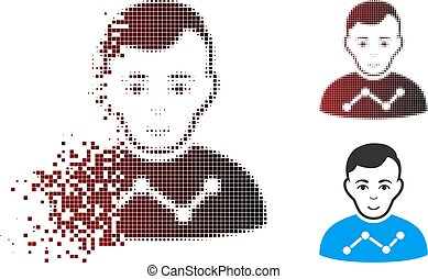Disappearing Pixel Halftone User Stats Icon