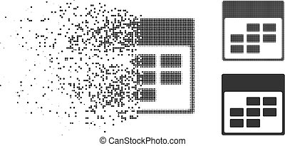Disappearing Pixelated Halftone Calendar Month Grid Icon -...