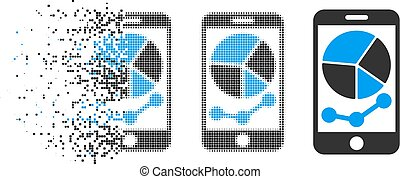Disappearing Pixelated Halftone Mobile Graphs Icon
