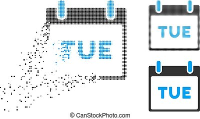 Disappearing Pixelated Halftone Tuesday Calendar Page Icon -...