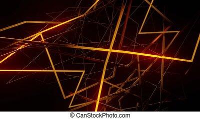 disappears., rendu, effet, alors, noir, corps, fond, brûler, rotation, render, 3d, ardent, radiant, lignes, résumé, espace, utilisation, mixer