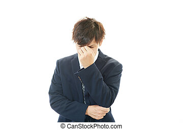 Disappointed Asian businessman - Tired and stressed Asian...
