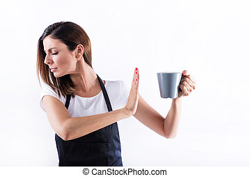 Disappointed barista woman