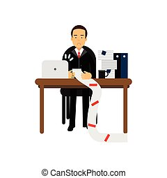 Disappointed businessman character looking at long document in office, anxious accountant holding a long bill vector Illustration