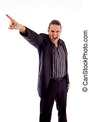 disappointed businessman pointing