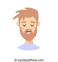 Disappointed Emoji character. Cartoon style emotion icons. Isolated boy avatars with tired facial expressions. Flat illustration black man's emotional face. Hand drawn vector drawing emoticon
