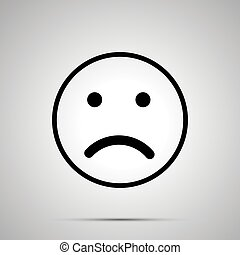 Disappointed face emoticon for rate of satisfaction level, simple black silhouette