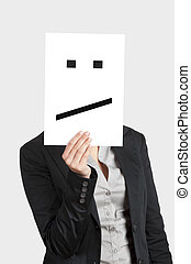Disappointed Face - Woman showing a blank paper with a...