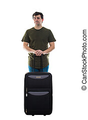 disappointed guy with luggage