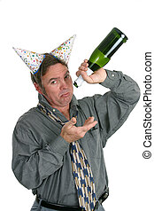 Disappointed Party Guy - A man in a party hat holding an...