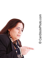 Disappointed woman showing her unhappiness by wagging her finger