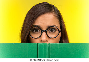 Disappointed young girl with nerd glasses. beautiful woman...