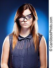 Disappointed young woman with nerd glasses, confused girl -...