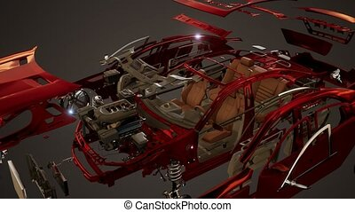 disassembled car with visible parts and engine