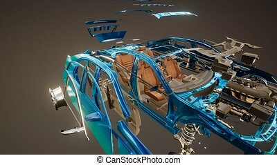 Disassembled Car with Visible Parts - disassembled car with...