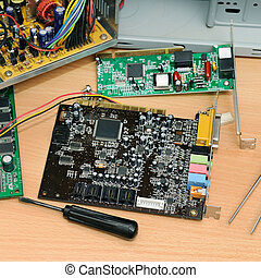 Disassembled computer on a desk