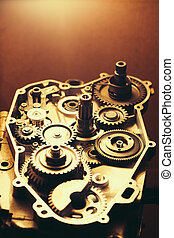 disassembled engine of motorcycle with gears