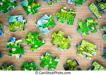 Disassembled jigsaw puzzle