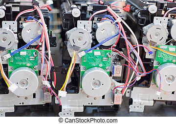 disassembled mechanisms of printers
