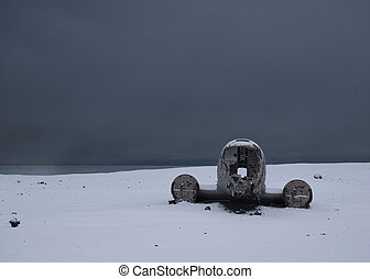 Disassembled plane wreck from USA in Iceland