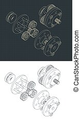 Stylized vector illustration of isometric drawings of a disassembled planetary gearbox