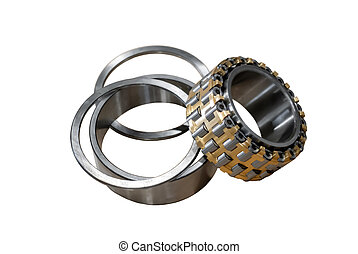 disassembled roller bearing isolated on white background