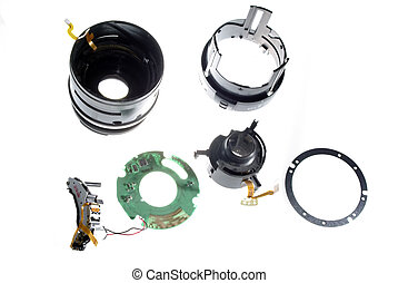 disassembled small digital camera lens isolated